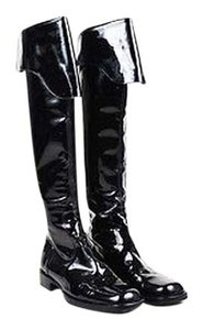 Chanel Patent Leather Square Toe Fold Over Knee High Black Boots