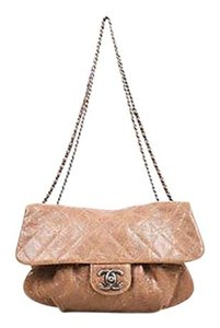 Chanel Taupe Leather Quilted Ruched Chain Strap Cc Flap Shoulder Bag