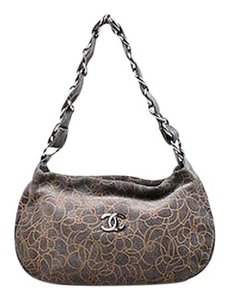 Chanel Taupe Suede Leather Chain Strap Camellia Flower Shoulder Bag