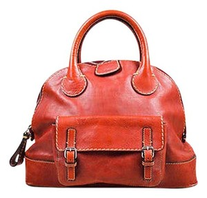 Chloé Chloe Distressed Leather Cream Stitching Shw Edith Bowler Satchel in Red