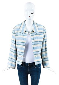 Chanel Identification 00c Blue Cream Wool Blend Tweed Striped Multi-Color Jacket