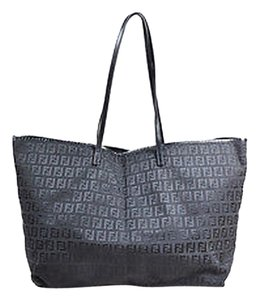 Fendi Canvas Leather Zucchino Patterned East West Tote in Black