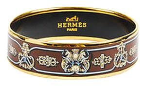 Hermès Hermes Beige Blue Brown Enameled Gold Plated Printed Bangle 65