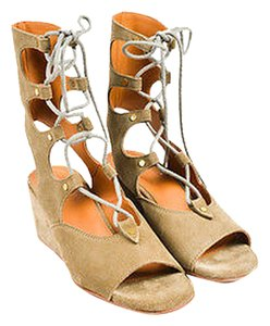 Chloé Chloe Military Suede Gladiator Wedge Green Sandals