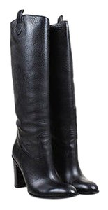 Gucci Pebbled Leather Tall Chunky Heel Black Boots