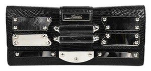 Gucci Silver Tone Lizard Plaque Embellished Flap Black Clutch