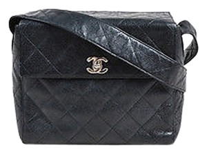 Chanel Vintage Shw Caviar Leather Quilted Square Shoulder Bag