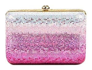 Judith Leiber Ombre Sequined Crystal Embellished Minaudiere Pink Clutch