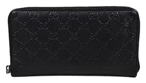 Gucci Gucci Black Leather Guccissima Monogram Signature Continental Wallet