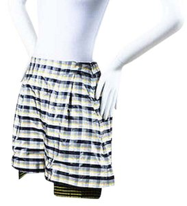 Dior Christian White Black Silk Plaid Pleated Shorts Yellow