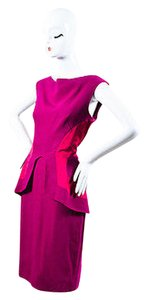 Lela Rose Magenta Linen Satin Trim Peplum Sleeveless Sheath Dress