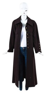 Chanel Vintage Boutique Dark Cashmere Wool Cc Buttons Long Coat