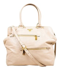 Prada Leather With Strap Tote in Beige