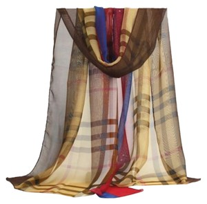 New Plaid Red Blue Brown Chiffon Scarf Long P2299
