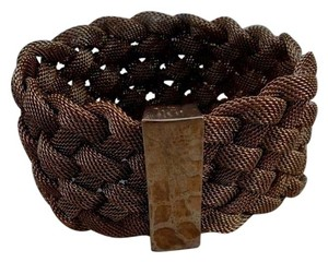 Ralph Lauren Massive Gold Plated Mesh Braided Cuff Bracelet