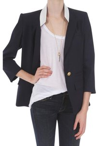 Smythe Flat Lapel And Creme Size Navy Blazer