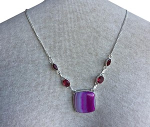 Anthropologie Sterling Silver Garnet Necklace