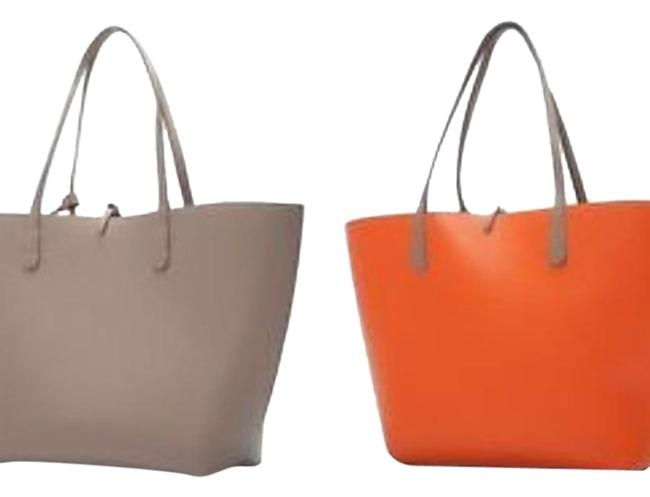 Item - Taupe/Orange Reversible Contrast Shopper Orange and Taupe Faux Leather Tote