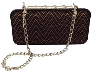 Elaine Turner Metallic Copper And Black Clutch