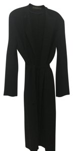 Donna Karan Notched Collar Crepe Trench Coat