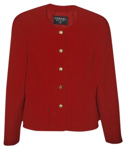 Chanel Classic Cc Logo Buttons Red Blazer