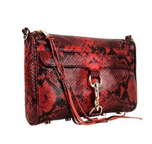 Rebecca Minkoff Mac Glazed Leather Red Clutch