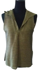 Ron Leal Sleeveless Hooded Irridescent Top Olive