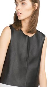 Zara Night Out Date Night Leather Crop Party Top Black