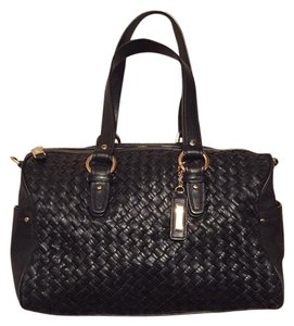 Cole Haan Satchel in black leather with gold hardware