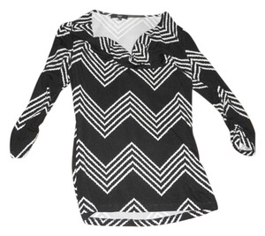 Tart Coral Three-quarter Sleeve Cowl Neck Top Black and White