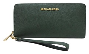 Michael Kors Saffiano Leather Nwt Green 190049712955 Wristlet in Moss