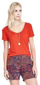 Banana Republic Scoop-neck Tee Orange Short-sleeved Rayon T Shirt Orange Lava