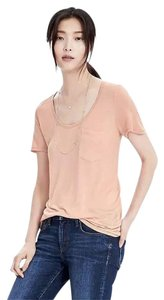 Banana Republic Scoop-neck Tee Short-sleeved Rayon Champagne T Shirt Dark Champagne