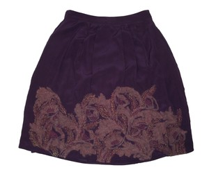 Anthropologie Mohair Embroidered Project Alabama Silk Skirt Purple