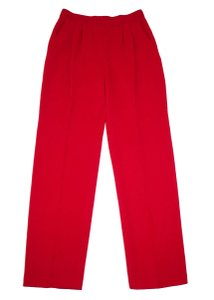 St. John Santana Pleated Collection Straight Pants Red