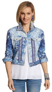 Chico's Cropped Beaded Abstract Watercolor Spring Blue & White Womens Jean Jacket