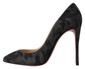Christian Louboutin Camo Camouflage Felt So Kate Flannel Black Pumps