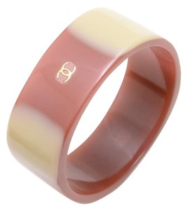 Chanel Maroon and Beige Lucite Bangle