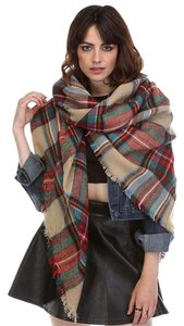 Aris Aris Plaid Blanket Scarf & Storage Bag #53BS2763