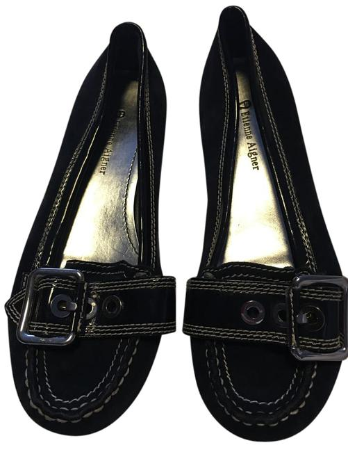 Etienne Aigner Navy Blue Silver Buckle Suede Leather White Stitching Flats Size US 7 Regular (M, B) Etienne Aigner Navy Blue Silver Buckle Suede Leather White Stitching Flats Size US 7 Regular (M, B) Image 1
