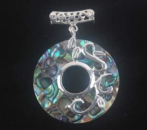 Abalone Shell Circle Pendant Free Chain & Shipping