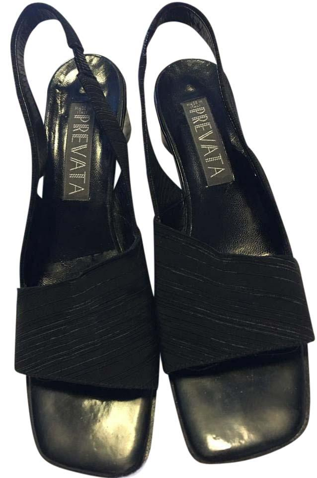 530495548455f Prevata Black Ribbed Fabric Open Toe Patent Leather Aa Wedges Size US 8  Narrow (Aa, N)