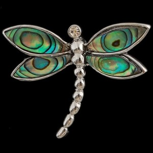 Abalone Shell Dragonfly Pendant Free Chain & Shipping