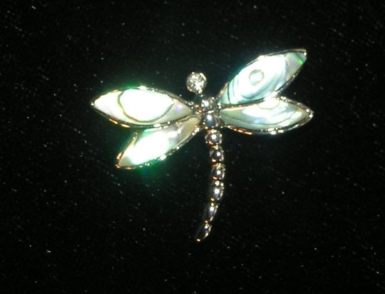 Multi Colored Abalone Shell Dragonfly Pendant Free Chain Shipping Necklace