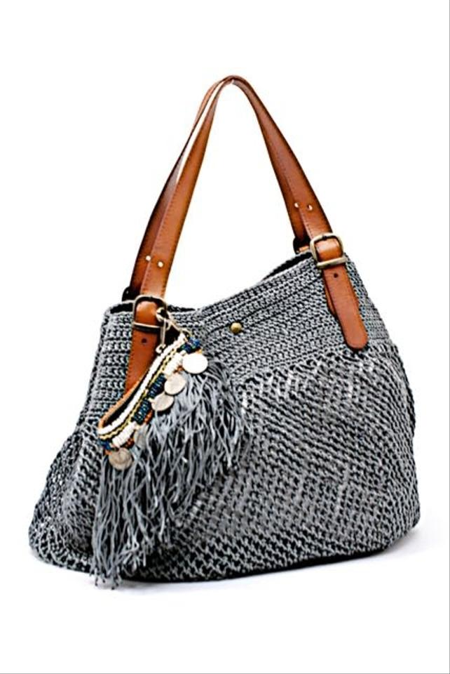 c41f2d0a08f Handbag W/Removable Beaded Pouch Grey W/Brown Leather Macrame Tote ...