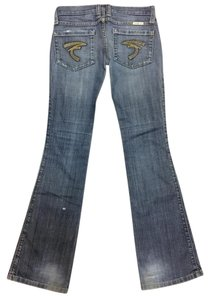 Frankie B B Size 2 Embroidered Pockets Boot Cut Jeans-Medium Wash