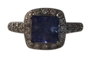 Cayen Collection Princess cut Tanzanite & Diamond Ring