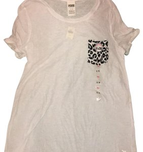 PINK Victoria's Secret T Shirt White w/leopard