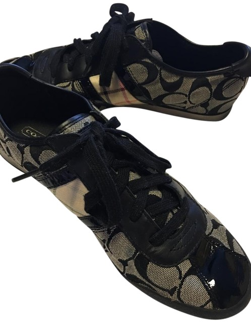 Item - Black Multi Signature Fabric and Leather Laced Patent Leather Toe Fabric Sneakers Size US 10 Regular (M, B)