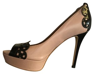Joan & David Peep Toe Chanel Pink/ black patent leather trim Pumps